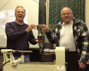 Norman, our Treasurer, has won another cup for his woodturning, this time at the Llandegai club